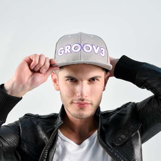GROOV3 Grey & White Snapback